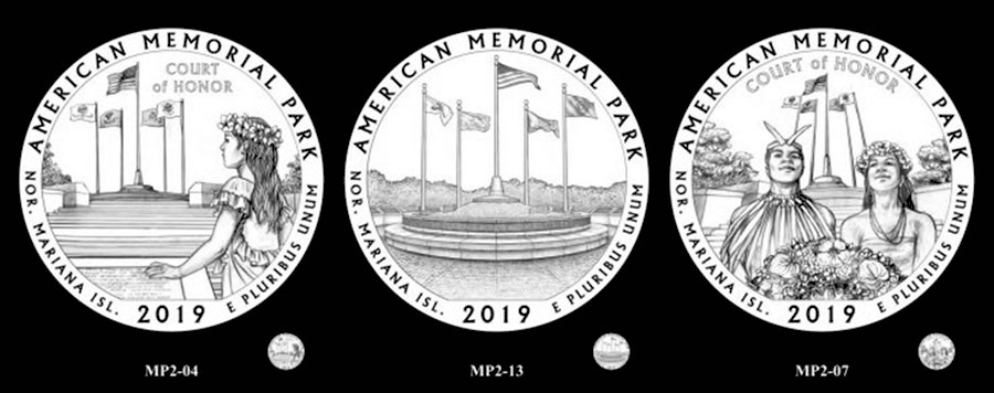 Recommended candidate designs for new 2019 American Memorial Park Quarter