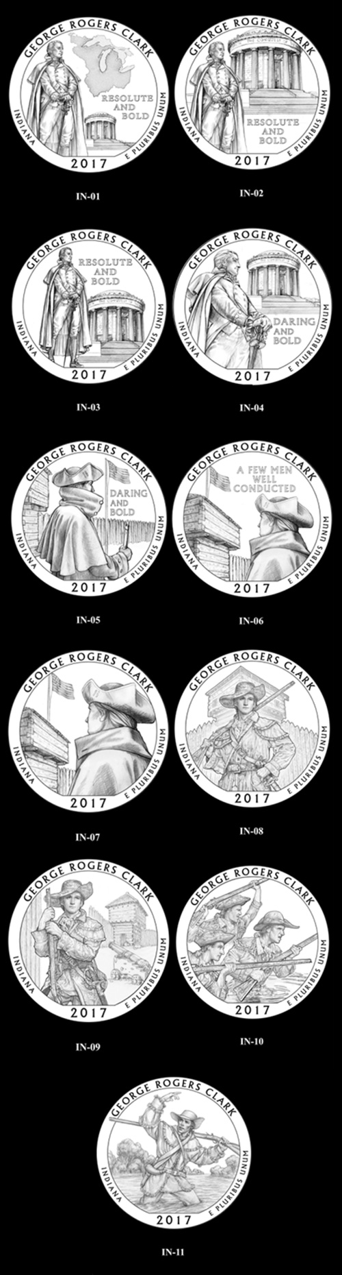 Candidate designs for the new 2017 George Rogers Clark National Historical Park quarter