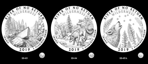 Candidate designs for the 2019 Frank Church River of No Return Wilderness quarter
