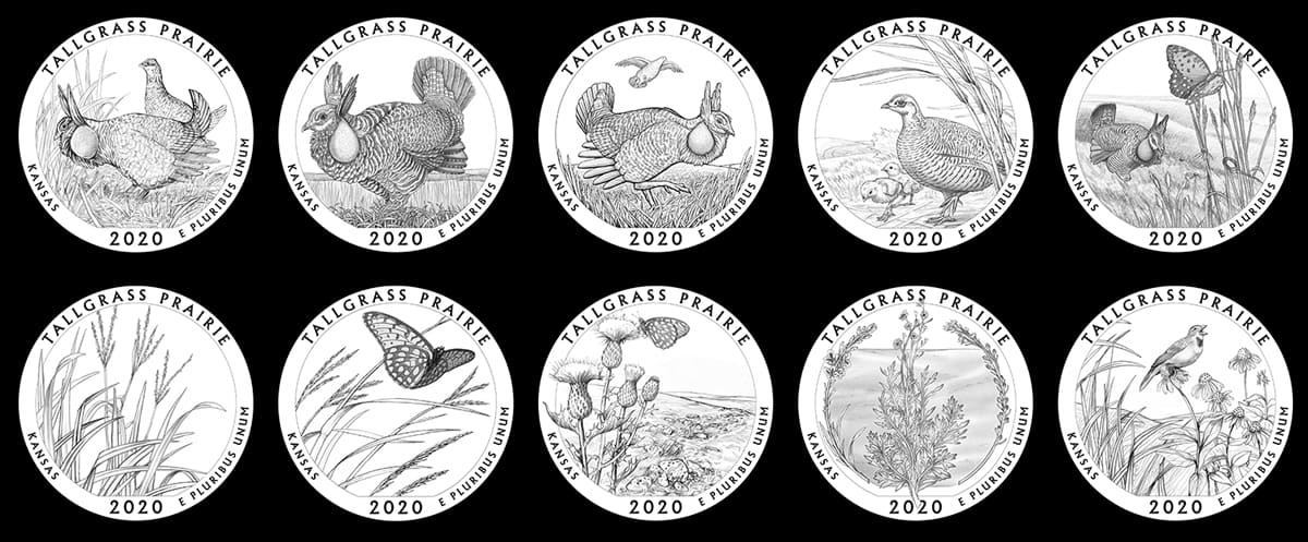 Candidate designs for new 2020 Tallgrass Prairie National Preserve Quarter