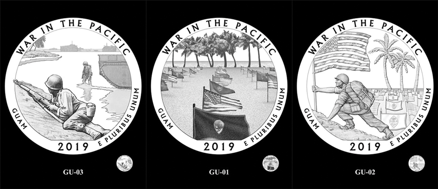 Candidate designs for new 2019 War in the Pacific National Historical Park Quarter