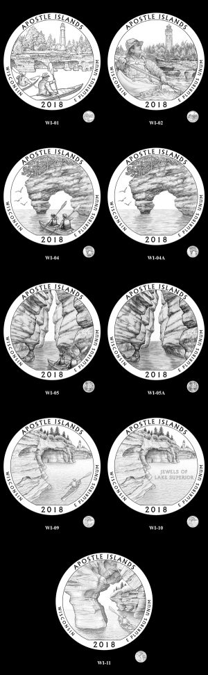 Candidate designs for the new 2018 Apostle Islands National Lakeshore quarter