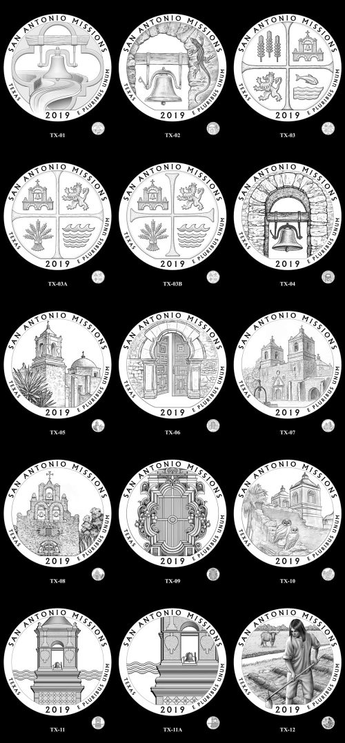 Candidate Designs for new 2019 San Antonio Missions National Historical Park Quarter