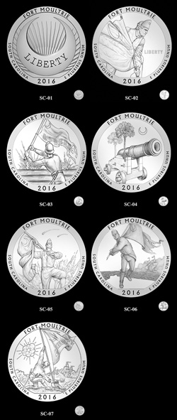 Fort Moultrie National Park quarter candidate designs