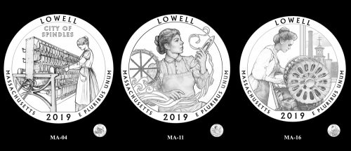 Recommended candidate designs for new 2019 Lowell National Historical Park Quarter