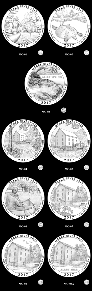 Candidate designs for the 2017 Ozark National Scenic Riverways quarter
