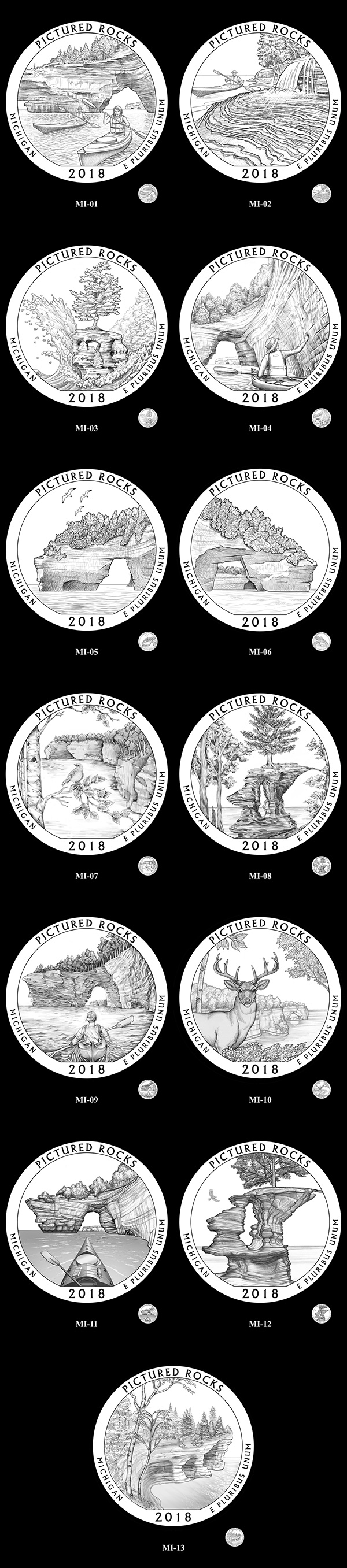 Candidate designs for new 2018 Pictured Rocks National Lakeshore Quarter