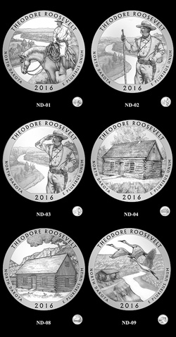 Candidate designs for the 2016 Theodore Roosevelt National Park quarter